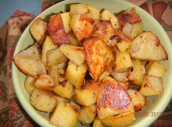 Oven Roasted Yukon Gold Potatos & Garlic/ Rosemary Recipe