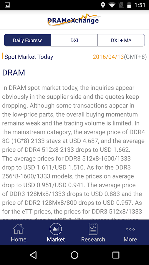 DRAMeXchange- screenshot
