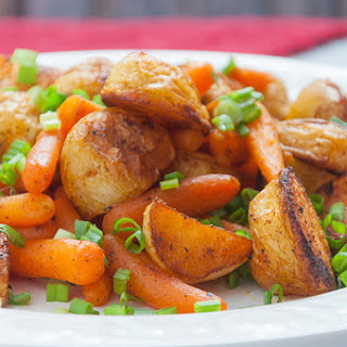 Baby Potatoes And Baby Carrots Roasted With Herbs