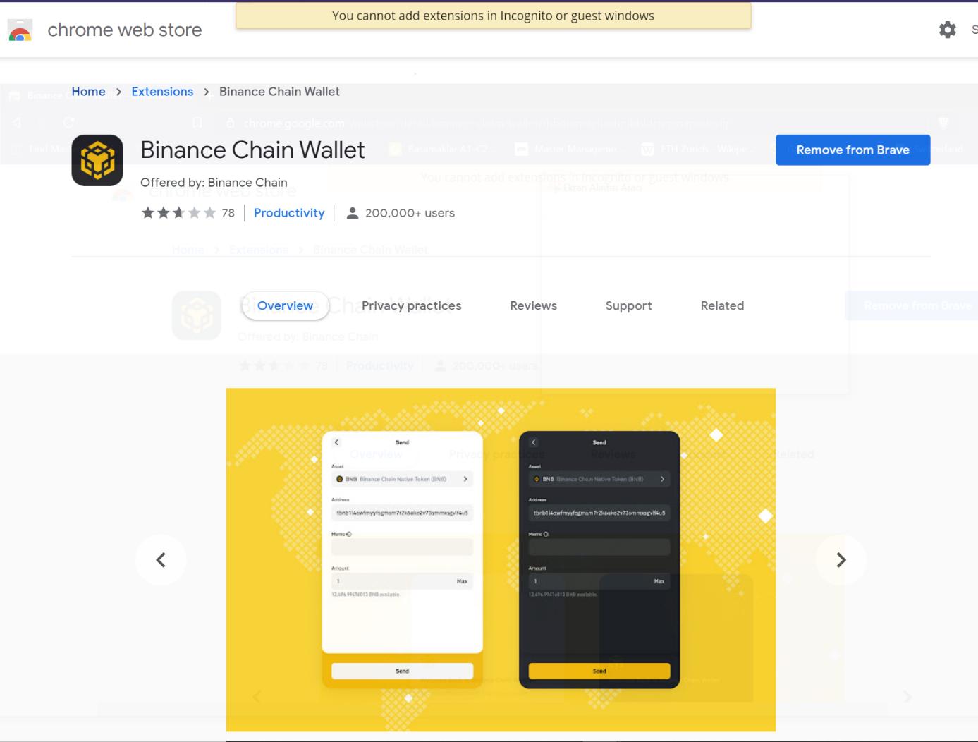 Binance Chain Wallet Google web mağazası ekranı