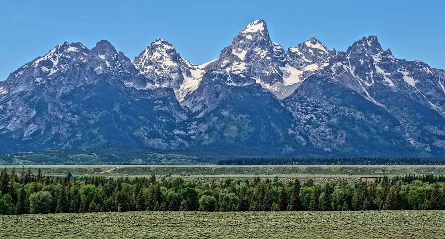 Mountain Wall by Jim Czech - Landscapes Mountains & Hills ( mountains, mountain, range, wyoming, tetons,  )