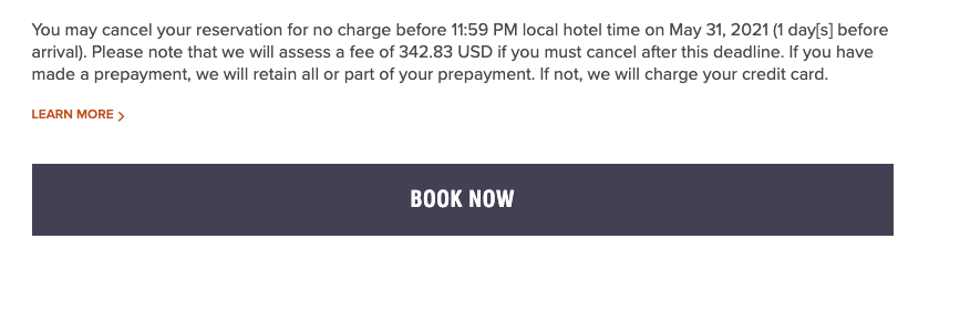 Book Now call to action from a hotel website