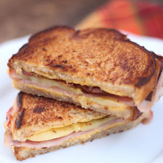 Ham, Bacon & Roasted Apple Grilled Cheese Sandwich.