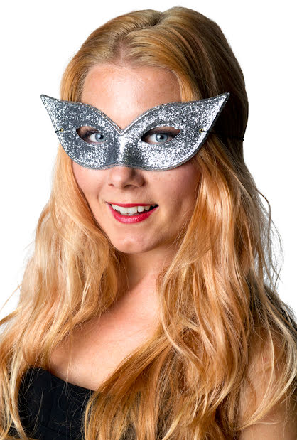 Ögonmask, silverglittrig