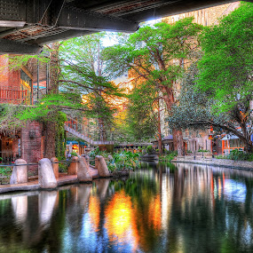 Under The Pecan St. Bridge by Jim O'Neill - City,  Street & Park  Historic Districts ( hdr, riverwalk, san antonio, architecture, river )