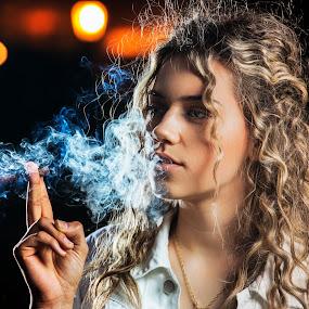Smoke and girl by Miloš Mirković - Uncategorized All Uncategorized ( cigarette, art, night, smoke, bokeh, girl, portrait, photography )