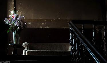 Photo: dunkles Treppenhaus mit Sofa und Blumenstrauß