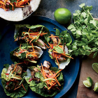 Grilled Chicken Lettuce Wraps with Pickled Watermelon Rind Slaw.
