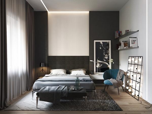 Phòng ngủ màu đen trắng 1