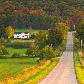 A Highview by Reva Fuhrman - Landscapes Mountains & Hills ( fall country road farm trees high vantage point,  )