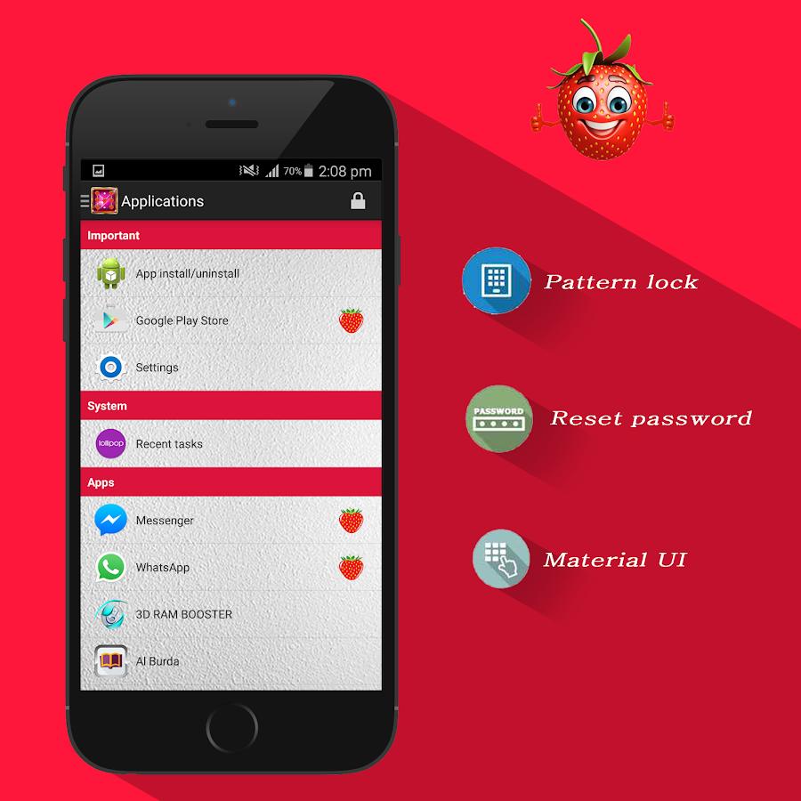Google theme reset - Strawberry Theme Applock Screenshot