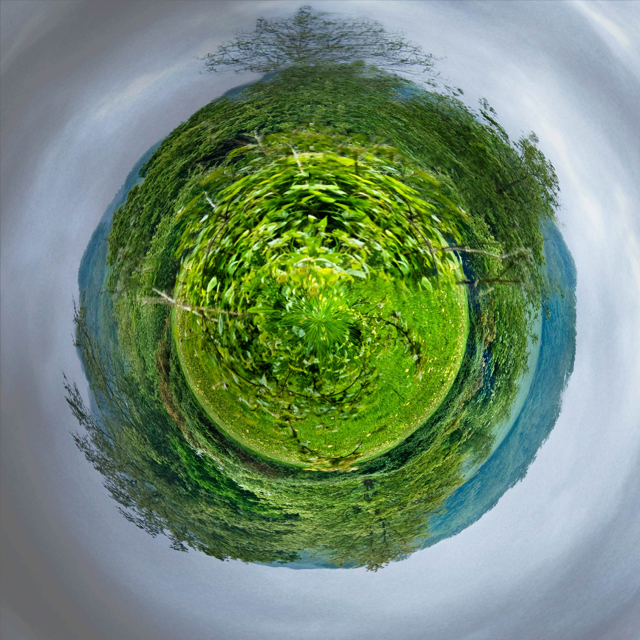 Photo: A Tiny Battle Field Yes, pun intended.  This is the battlefield at Battle, UK, where the Battle of Hastings was fought in 1066.  I saw a photo of someplace else done with the Tiny Planet iPhone app.  Call me cheap, but I've had my iPhone for over a year now, and I haven't found any app so profoundly attractive or interesting that I have been willing to pop the 99 cents (or more) for it. It's kind of like pay TV and movies. Why would I?  Nevertheless, I thought I'd go into the archives and see if there wasn't something I could play around with. Keeping in mind that it never crossed my mind to do a tiny planet picture when I clicked the shutter, I think this came out pretty good.  I did duplicate one corner to another, then cloned bits here and there so as to keep it from being totally symmetrical, and I think I succeeded. The original had a plain grey sky, so I substituted that as well, to give a bit of . . . content- not to mention context.  No other plugins or applications were used than Lightroom 5 and Photoshop CC.  #TinyPlanet   #England   #BattleOfHastings   #Battlefield