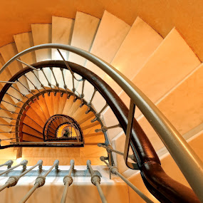 going down by Kirk Kimble - Buildings & Architecture Other Interior ( motel, circular, stairs, staircase, steps, travel, hotel, spain )