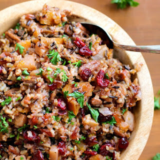 Wild Rice Stuffing with Butternut Squash, Pears, and Pecans