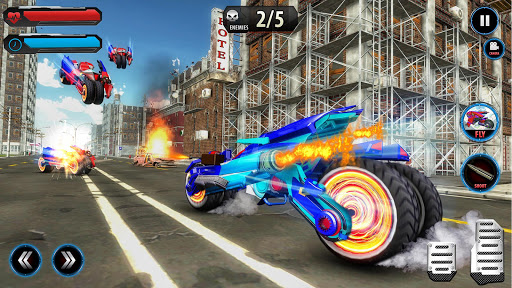 Flying Robot Police ATV Quad Bike City Wars Battle apktram screenshots 6