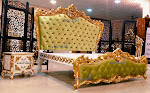 Royal Bedroom Set Tufted Bedsteads Velvet Green Fabric