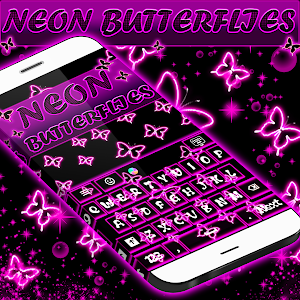 Neon Butterflies Keyboard screenshot 0