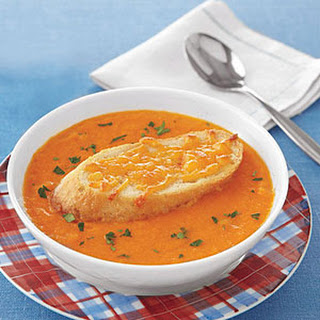 Tomato Soup with Cheddar Croutons