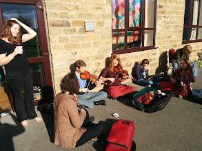Photo: Spontaneous music on Monday afternoon.