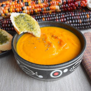 Pumpkin Soup with Pesto Toast