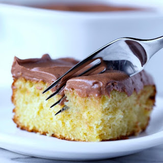 Easy Sour Cream Cake with Creamy Chocolate Frosting.