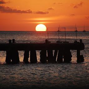 Sundowner @ the Jetty by Angeline JoVan - Novices Only Landscapes ( orange, sunset, ocean, jetty, sun, silhouette,  )