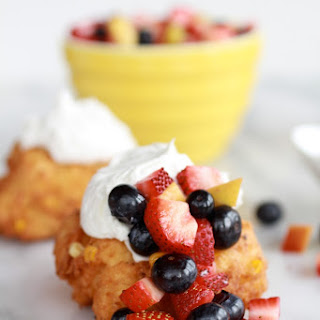 Corn Fritters with Coconut Whipped Cream and Sweet Honey Bourbon Syrup