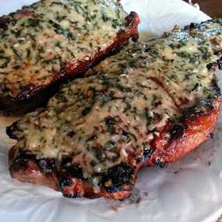Basil/Parmesan Crusted New York Strips.