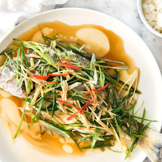 Chinese Steamed Fish with Ginger Shallot Sauce.