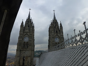 Photo: View from the base of the small rear tower toward the main towers, front