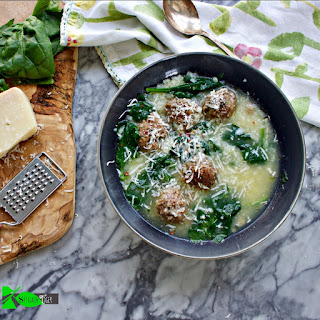 Big Fat Healthy Italian Wedding Soup Recipe with Proscuitto Meatballs.