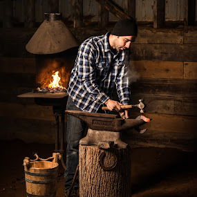 The Blacksmith by Claude Lupien - People Professional People ( blacksmith, iron worker, anvil, steel, forge, hammer, portrait, horseshoe )