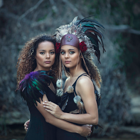Tribal Twins by Shawnessy Ransom - People Portraits of Women ( shawnessy ransom, feathers, senior portraits, natural light, tribal, tribal twins )