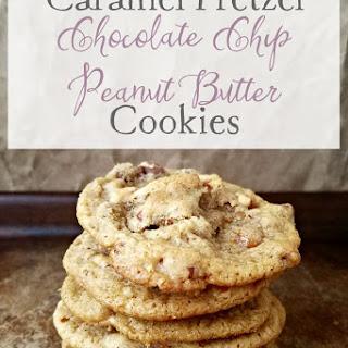 Caramel Pretzel Chocolate Chip Peanut Butter Cookies.