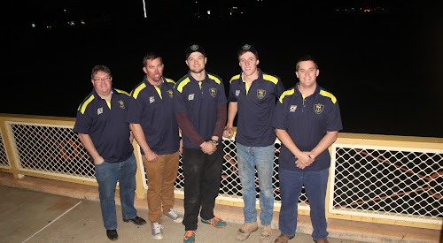 Vanuatu tour: Tatts Cricket Club Vanuatu tour members Bill Wood, Craig Gleeson, Jake Packer, Toby Bentley and Brendon Ward in their tour shirts on Tuesday night.