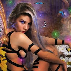 Stacy in wings by Len Lambert - Digital Art People ( fantasy, body, gorgeous, wings, eyes,  )