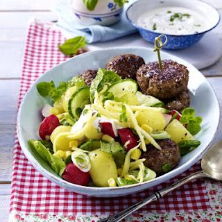 Spicy Meatballs with Romaine, Potato and Corn Salad.