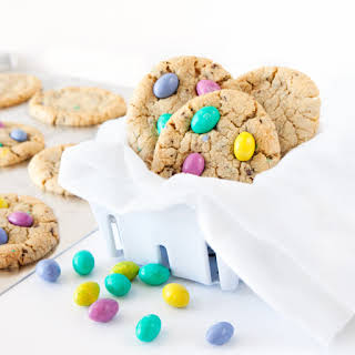 Chocolate Chip M&M Easter Egg Cookies.