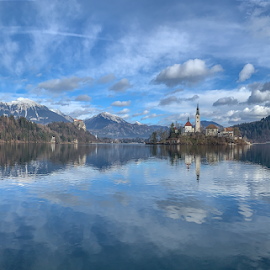 Lake Bled by Wendy Richards - Landscapes Travel ( slovenia, mountains, reflection, snow, church, lake bled, travel, lake, holiday, water, landscape )