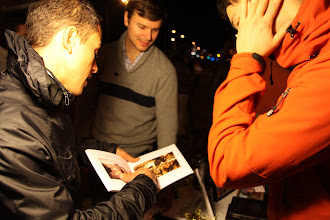 Photo: Joe Sciarrillo talking about a photo from Bay Area Underground, http://thoughtpublishing.org, taken at a previous First Friday