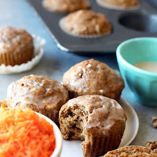 Whole Grain Carrot Cake Muffins with Walnuts.