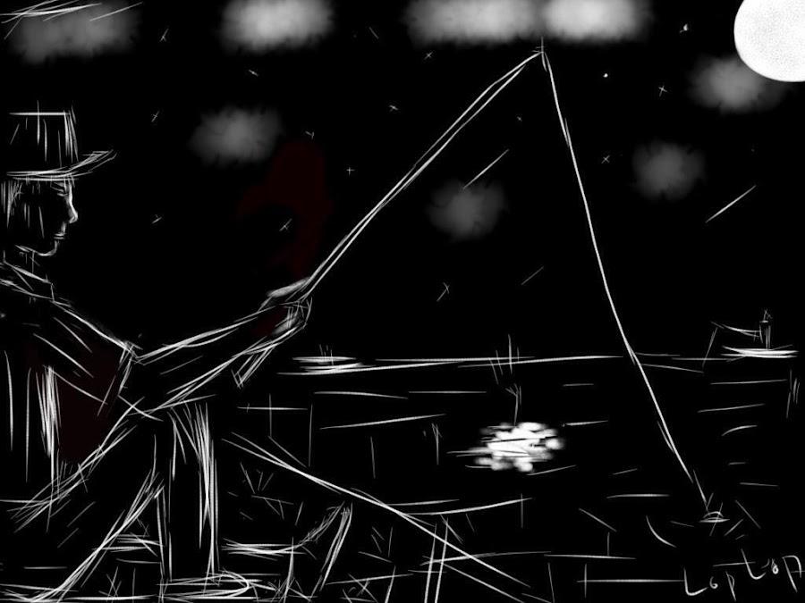 Lonely night fishing! by Sakada Sam - Drawing All Drawing