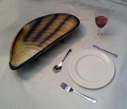 Photo: Giant Mussel Sculpture - table centre