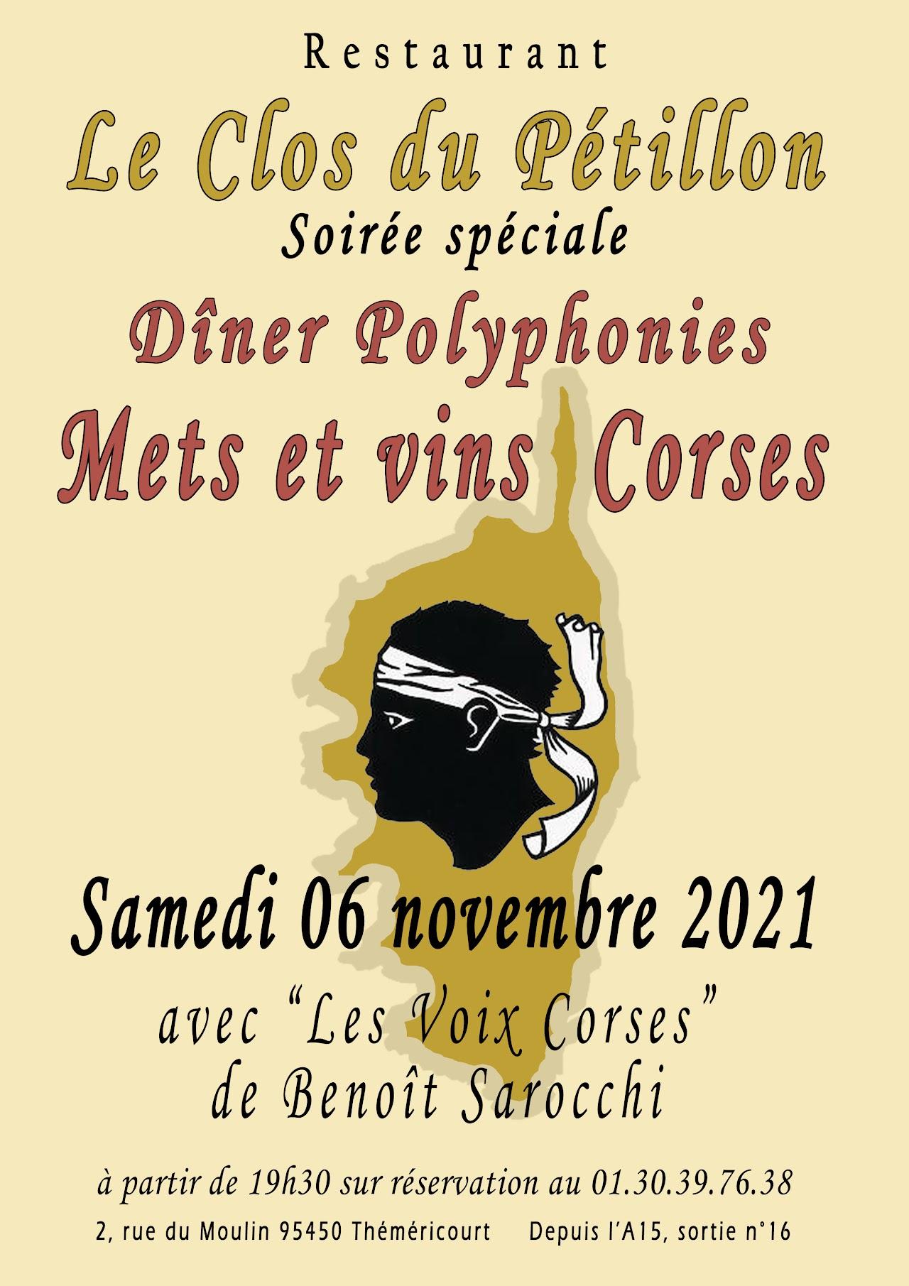 Samedi 6 novembre diner Corse
