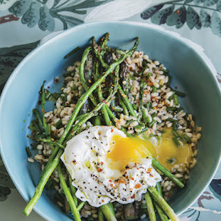 Farro with Asparagus, Chili, & Egg