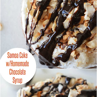 Samoa Cake with Homemade Chocolate Syrup