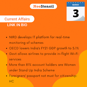 Daily Current Affairs - March 3, 2020 (The Hindu, PIB, Fact Pedia)