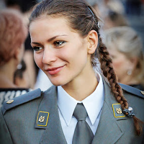 Sub-lieutenant by Boris Bajcetic - People Portraits of Women