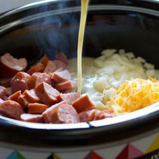 Crockpot Smoked Sausage & Hash Brown Casserole