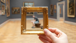 close up of gold art frame